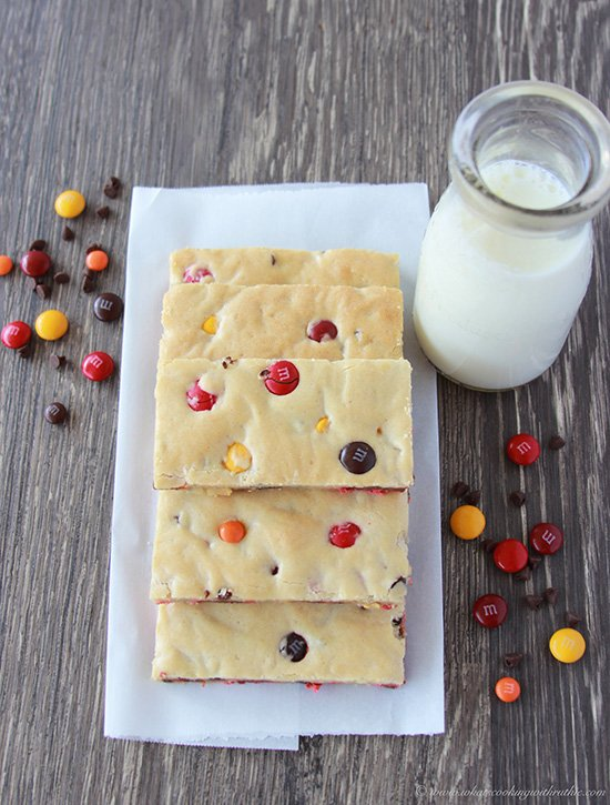 Autumn M&M Blondies on www.cookingwithruthie.com is a fun festive autumn treat for the whole family!