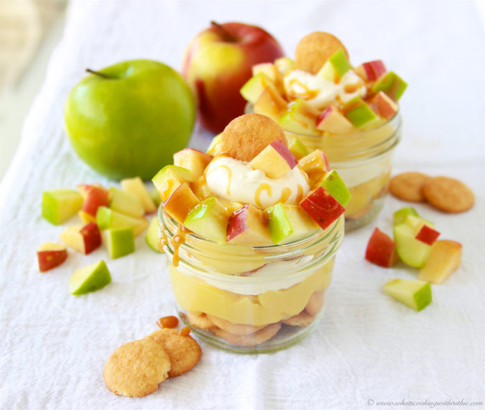 Caramel Apple Parfait on www.cookingwithruthie.com is a skinny autumn dessert that's as tasty as it is adorable!