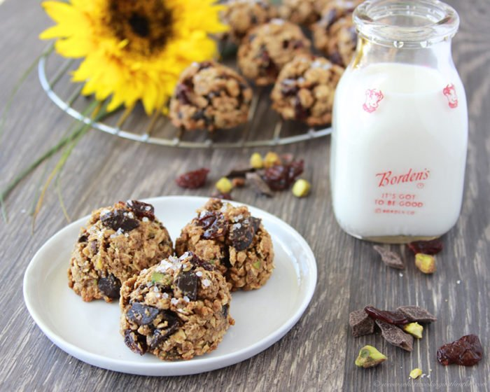 Cherry Pistachio Chocolate Chunk Cookies on www.cookingwithruthie.com are a healthier cookie and the perfect combo of sweet, salty, with a bit of tang! Enjoy!!