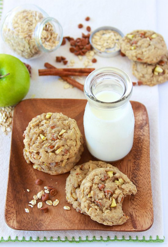 Cinnamon Green Apple Oat Cookies on www.cookingwithruthie.com tastes just like apple pie and it's sure to be your favorite cookie this fall!