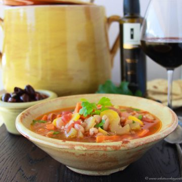 Greek Fasolatha Soup on www.cookingwithruthie.com is a hearty bean and vegetable soup from Greece, it's simple to make and tastes amazing!
