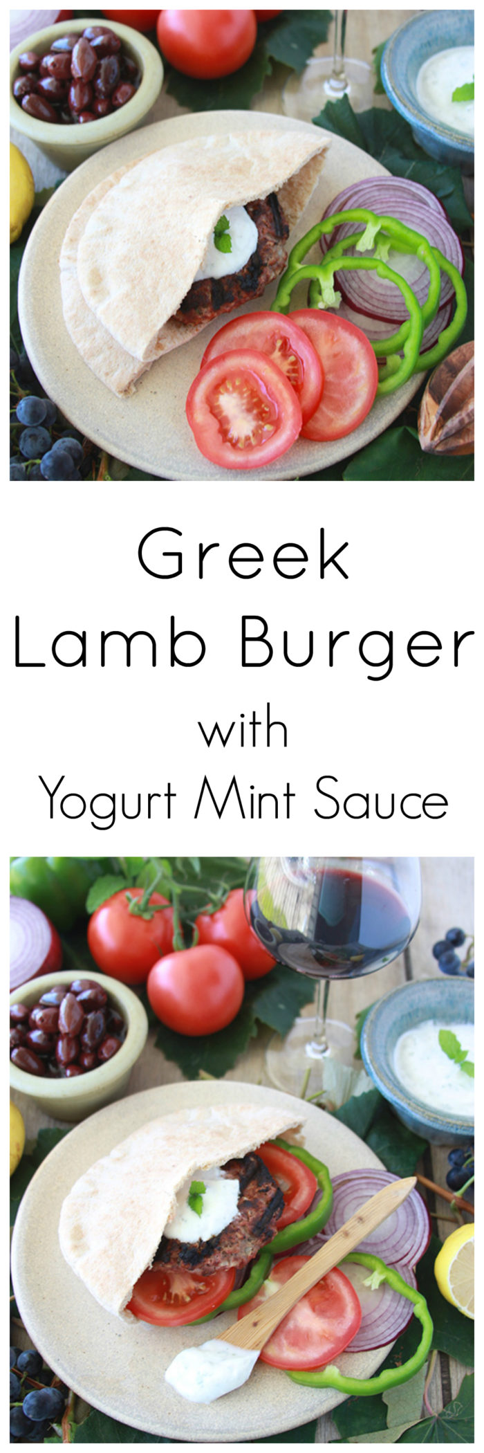 Greek Lamb Burger with Yogurt Mint Sauce on www.cookingwithruthie.com tastes a lot like a gyro but even better grilled into a burger! #foodbridges