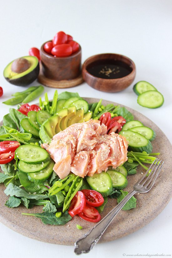 Salmon Cucumber Avocado Salad with Sweet Vinegar Dressing on www.cookingwithruthie.com is such a beautiful combination of flavors your tastebuds will be shocked!