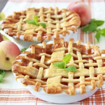 """Sweet Peach Petite Pies on www.cookingwithruthie.com will be your favorite """"skinny"""" dessert for fall!"""