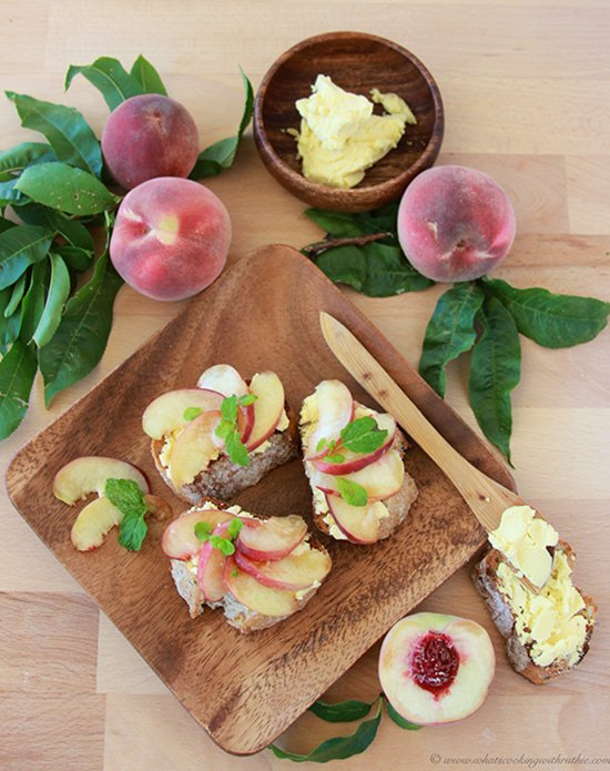 Today's White Peach, Chevre, Mint Toasts Recipe are a tantalizing combination of flavors that'll make the start of your day fabulous! by cookingwithruthie.com