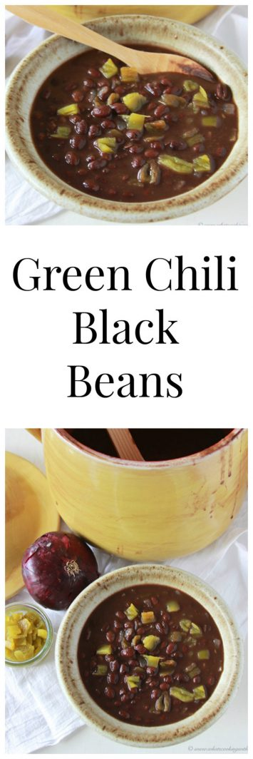 Green Chili Black Beans on www.cookingwithruthie.com are a savory side dish for your next tex-mex dinner!