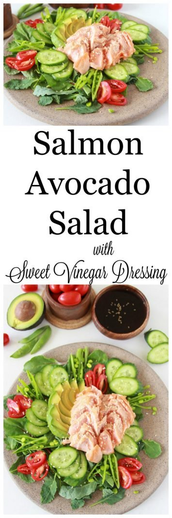 Salmon Avocado Salad with Sweet Vinegar Dressing on www.cookingwithruthie.com is such a beautiful combination of flavors your tastebuds will be shocked!