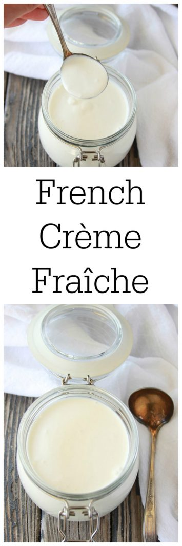French Crème Fraîche on www.cookingwithruthie.com is similar to sour cream but, at the same time very different. Tastes amazing on fruit or as a savory topping!