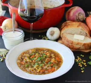 French Potage Saint-Germain (Split Pea Soup) on www.cookingwithruthie.com is a humble and comforting soup, a french home cooks staple recipe! #foodbridges