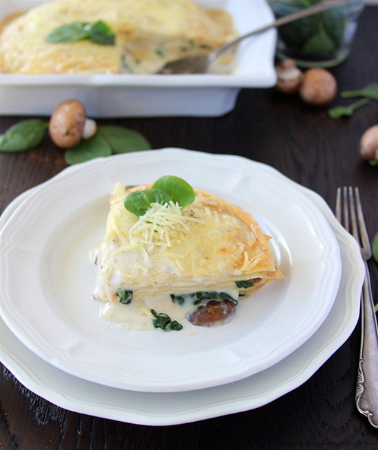 French Spinach, Mushroom, and Cheese Torte on www.cookingwithruthie.com layers of decadence it will impress even the pickiest!