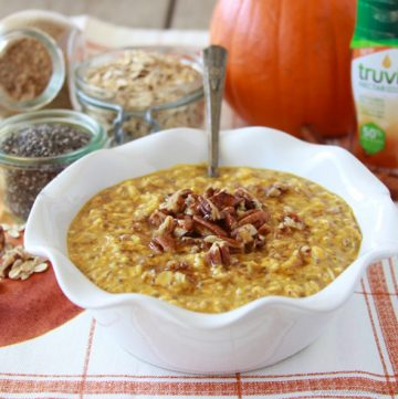 Pecan Pumpkin Pie Oatmeal on www.cookingwithruthie.com is quick and easy in the microwave! It'll be your favorite fall breakfast! #spon @truvia
