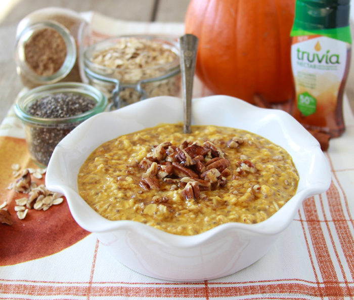 Our Pecan Pumpkin Pie Oatmeal Recipe is packed with healthy ingredients to keep you fueled all morning! by cookingwithruthie.com