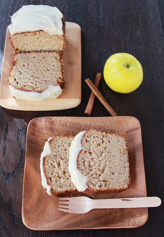 Apple Cinnamon Bread with Vanilla Bean Frosting on www.cookingwithruthie.com an must-make for your autumn baking!
