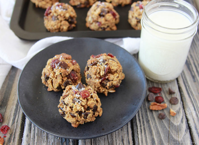 Cranberry, Pecan, Dark Chocolate Cookies on www.cookingwithruthie.com are a healthier cookie that taste like all you crave in a cookie! Delish!!