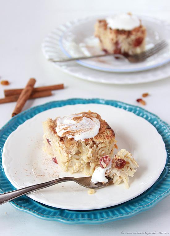 Cinnamon Raisin Kugel on www.cookingwithruthie.com is a favorite dessert at Hanukkah celebrations!