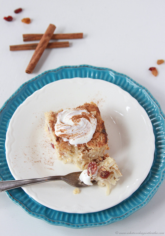 Cinnamon Raisin Kugel Recipe is a favorite dessert at Hanukkah celebrations! by cookingwithruthie.com