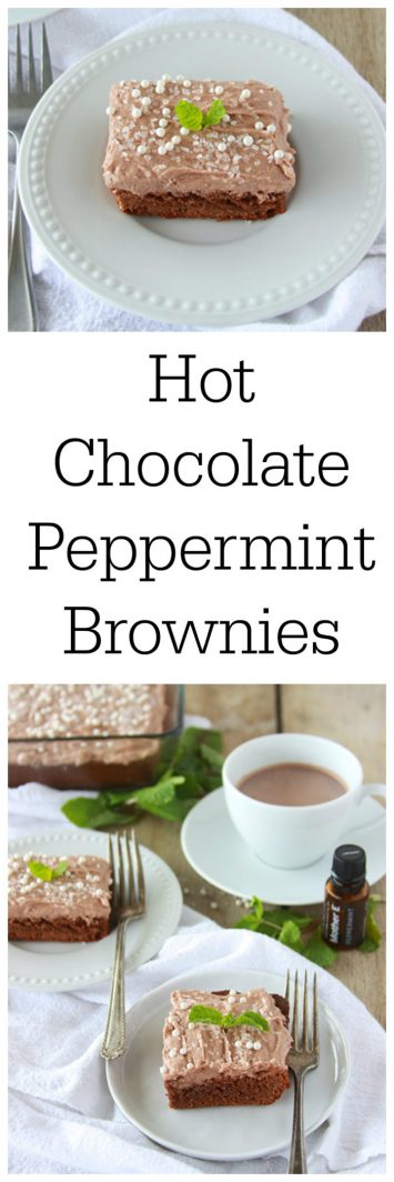 Today's Hot Chocolate Peppermint Brownies Recipe are made with pure peppermint oil--which makes them drool worthy! by cookingwithruthie.com