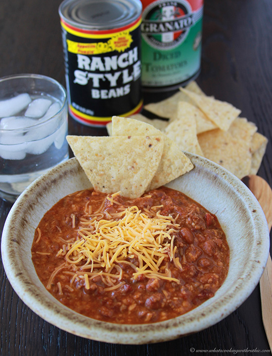 Quick and Dirty Chili on www.cookingwithruthie.com is ready in 5 minutes flat! Dinner is served!!