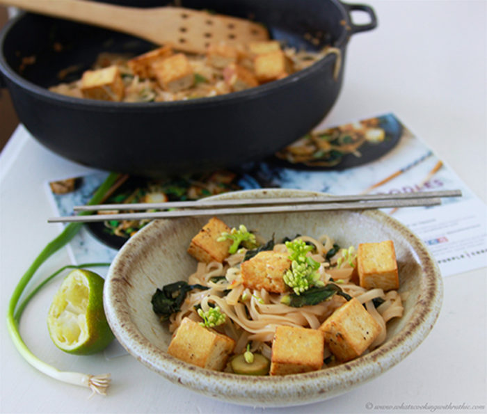 Tofu Drunken Noodles on www.cookingwithruthie.com a healthy vegan dinner that tastes fabulous!