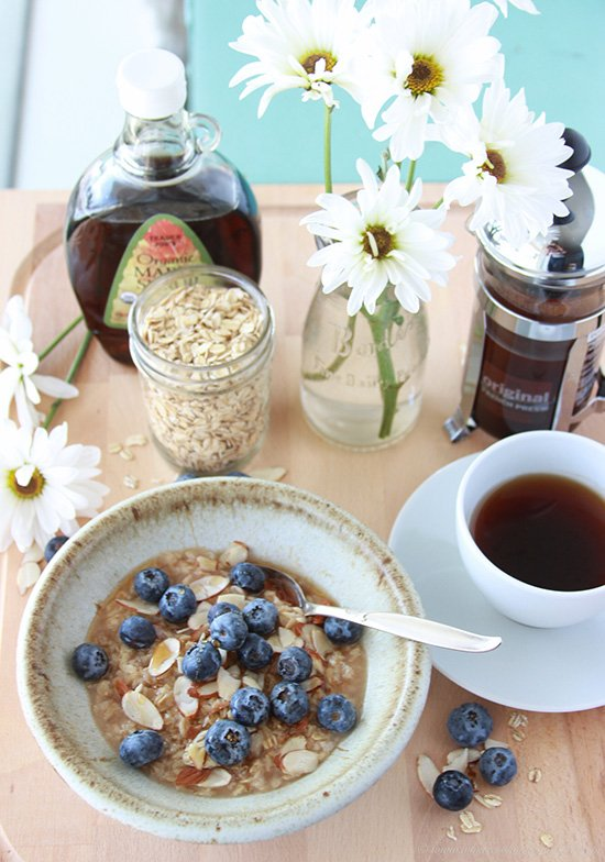 Blueberry Almond Maple Oats are simple to make for busy mornings! www.cookingwithruthie.com