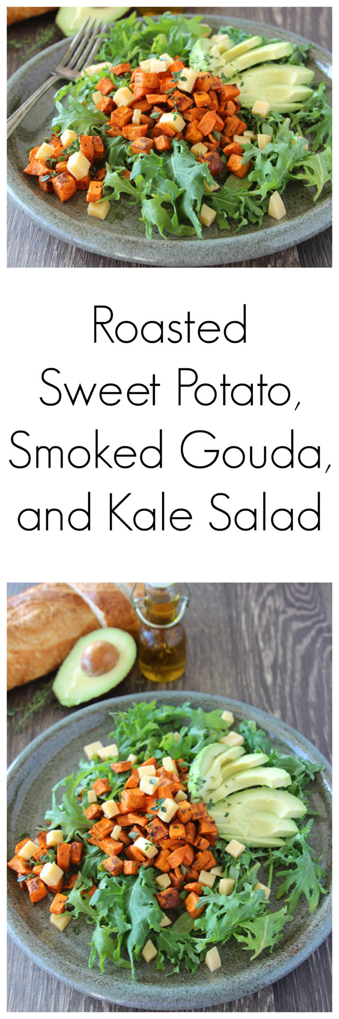 Roasted Sweet Potato, Smoked Gouda, and Kale Salad is a delightful combination of flavors! www.cookingwithruthie.com