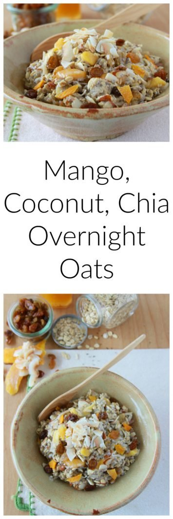 Mango Coconut Chia Overnight Oats are one of my favorite, healthy breakfasts! on www.cookingwithruthie.com