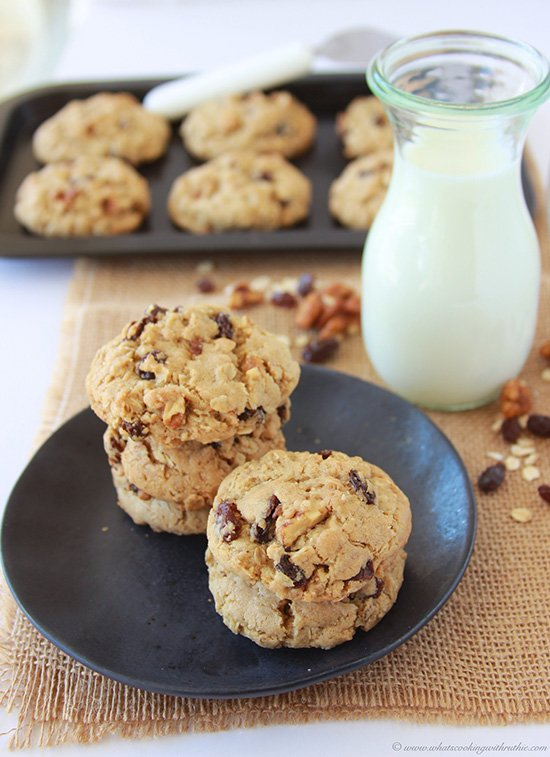 Oatmeal, Raisin, Candied Walnut Cookies are a mouth-watering and begging for a tall glass of milk! on www.cookingwithruthie.com