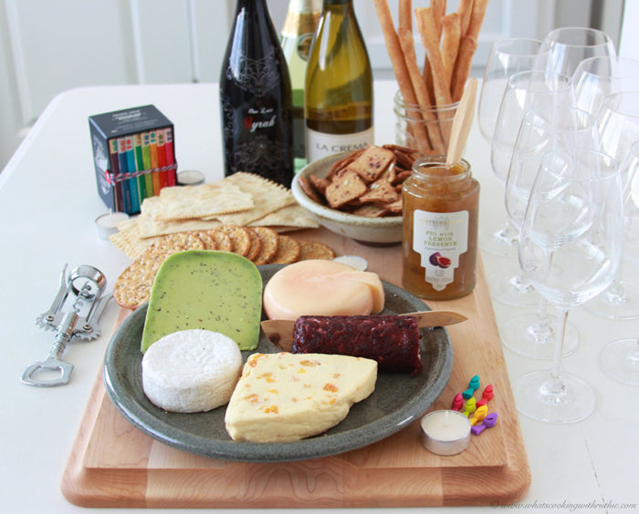 Wine & Cheese Board is a lovely and simple way to host a party! on www.cookingwithruthie.com