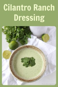 Today's Cilantro Ranch Dressing Recipe is a zesty way to top your vegetables! Cilantro lime ranch dressing is perfect for any kind of salad, burritos, tacos, etc. Our cilantro ranch recipe has unlimited possibilities! Similar to the Cafe rio dressing recipe with cilantro, lime, jalapeno and tomatillos, this is to-die-for! #salad #dressingrecipe #caferio || cookingwithruthie.com