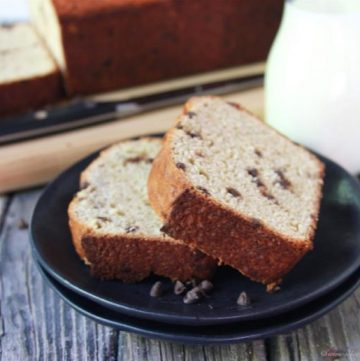 Sourdough Chocolate Chip Banana Bread is a tangy sweet loaf that we love! www.cookingwithruthie.com