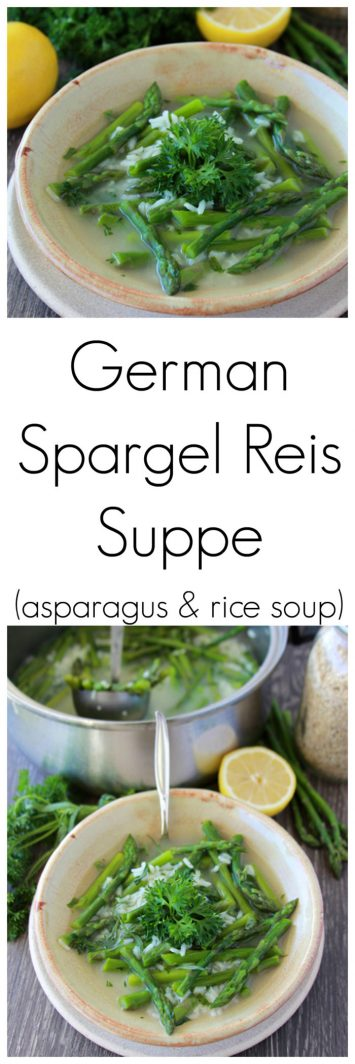 German Spargel Reis Suppe is a classic German recipe that's simple to make and tastes SO good! www.cookingwithruthie.com