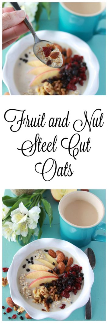 Fruit and Nut Steel Cut Oats are an overnight oats recipe that make a quick and easy nutricious breakfast!  www.cookingwithruthie.com