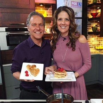 Toasted Coconut Pancakes with Nutella Syrup on Fox13 were loved by the crew! www.cookingwithruthie.com