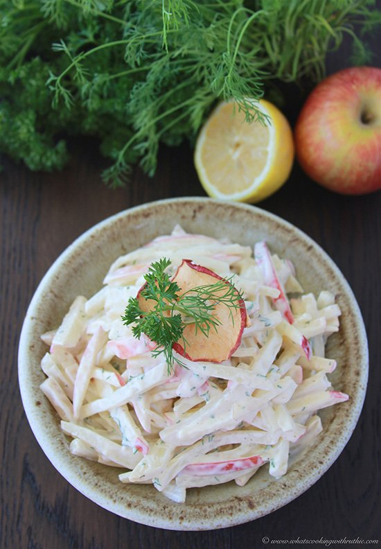Our German Apple and Celery Root Salad or Selleriesalat in German which is more commonly known as the Waldorf Salad here in the States! by cookingwithruthie.com