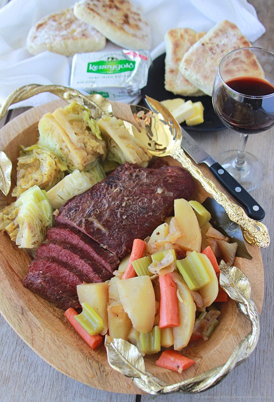 Irish Corned Beef with Cabbage is a classic dish that's fun dinner to celebrate St. Patricks Day! www.cookingwithruthie.com