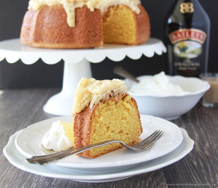 Irish Cream Bundt Cake is a festive dessert for St. Patricks Day! www.cookingwithruthie.com