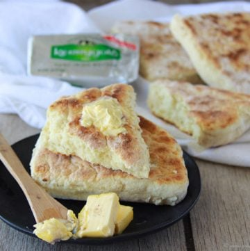 Irish Soda Farls is a quick and simple soda bread that cooks in a skillet! www.cookingwithruthie.com