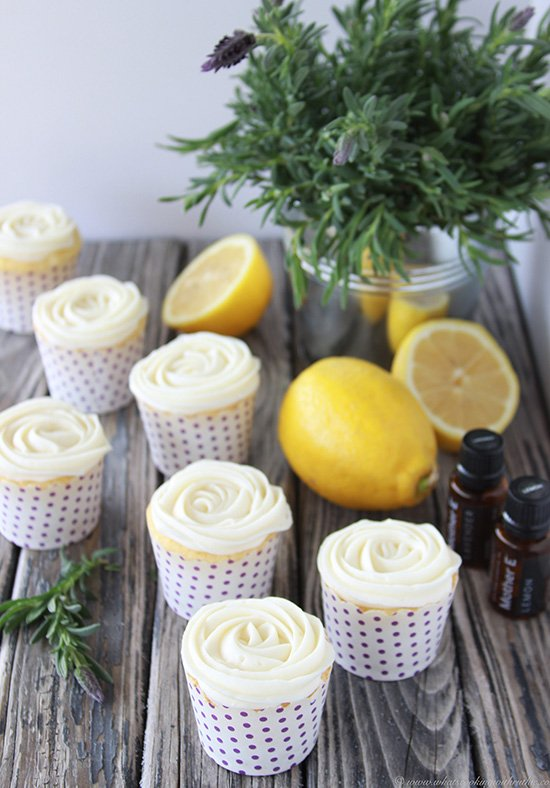 Today's Lemon Cupcakes with Lavender Cream Cheese Frosting Recipe are the sweetest petite lemon cakes! by cookingwithruthie.com