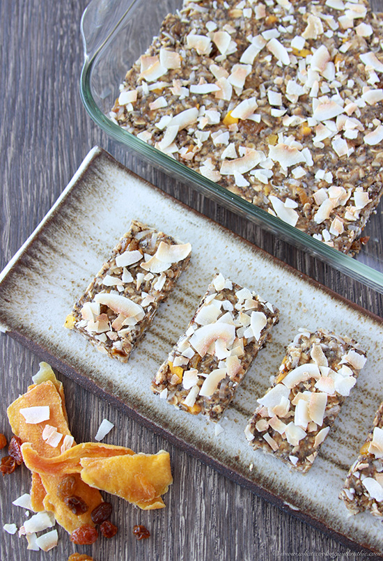 Mango Coconut Energy Bars take 5 minutes to make and are the perfect snack! www.cookingwithruthie.com