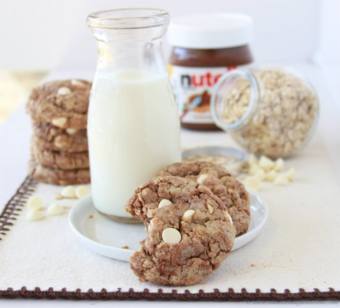 Nutella White Chocolate Oatmeal Cookies are going to be your new favorite cookie! www.cookingwithruthie.com
