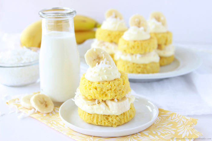 Our Coconut Banana Cream Petite Cakes Recipe is a fun twist on the coconut cream cake! by cookingwithruthie.com