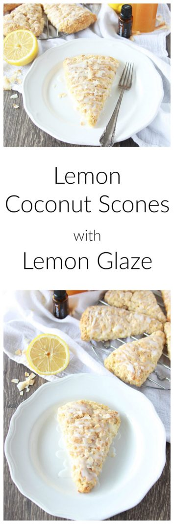 Lemon Coconut Scones with Lemon Glaze are a healthier scone that tastes amazing! www.cookingwithruthie.com