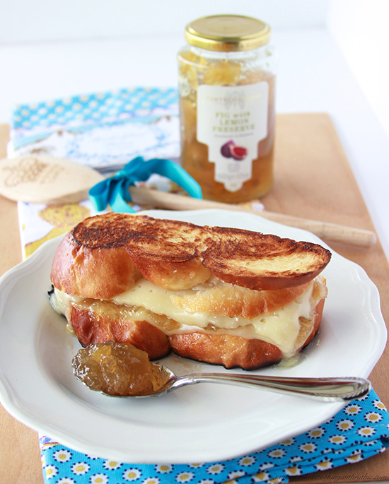 English Preserves, Havarti, Challah Grilled Cheese fabulous for brunch or lunch! www.cookingwithruthie.com