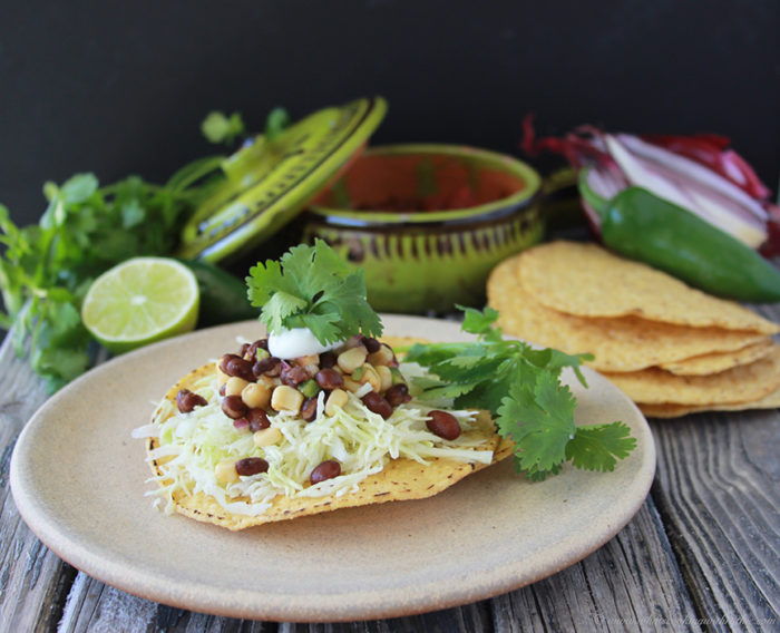 Black Bean and Sweet Corn Tostadas are a fresh tex-mex dinner or appetizer! www.cookingwithruthie.com