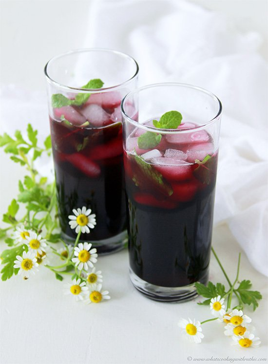 Non-Boozy Blueberry Mint Mojito by Cooking with Ruthie