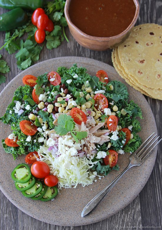 Chicken Fiesta Kale Salad is a healthy and delicious salad! www.cookingwithruthie.com