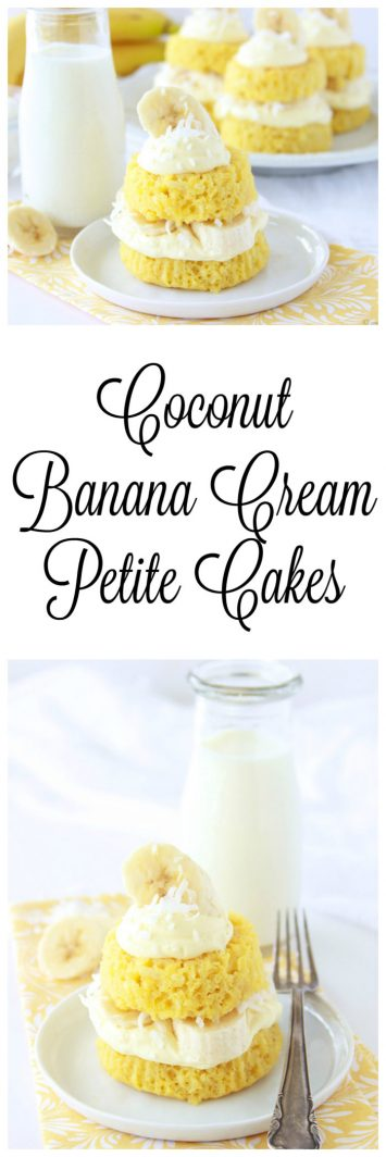 Coconut Banana Cream Petite Cakes are simple and fun to make! www.cookingwithruthie.com