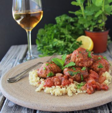 Lamb Meatballs with Mint Tomato Sauce and Quinoa is delicious spring time meal! www.cookingwithruthie.com