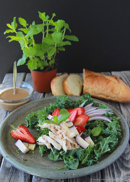 Strawberry, Chicken, and Kale Salad is a lovely spring and summer lunch! www.cookingwithruthie.com