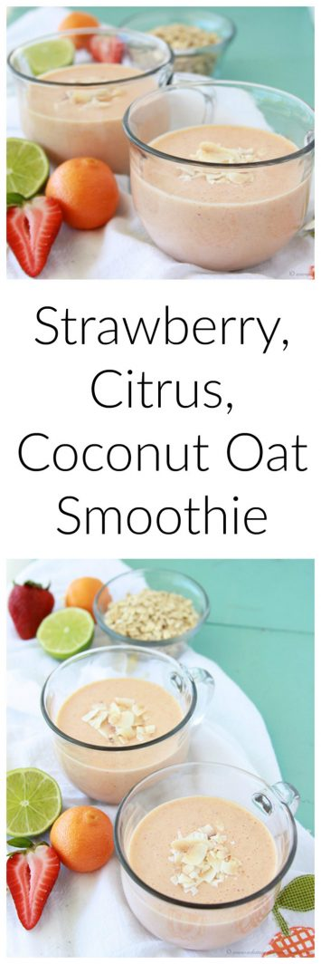 Strawberry, Citrus, Coconut Oat Smoothie is a healthy and refreshing breakfast or snack! www.cookingwithruthie.com